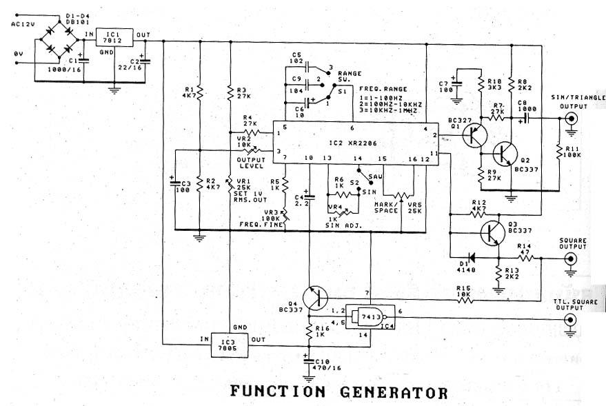 werking eindtrap XR2206 functiegenerator met 2 transistors