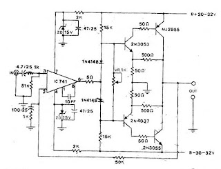 Circuit Electronics: Power Amp OCL by 741+2N3055+MJ2955