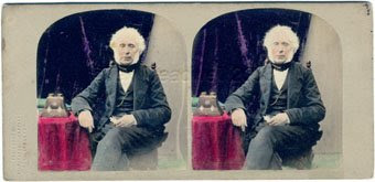 David Brewster 1860 with stereoscope and colouring