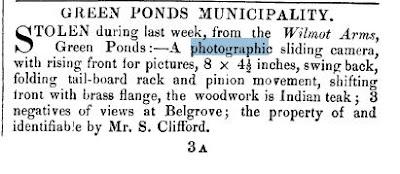 Sam Clifford's stolen camera 1878