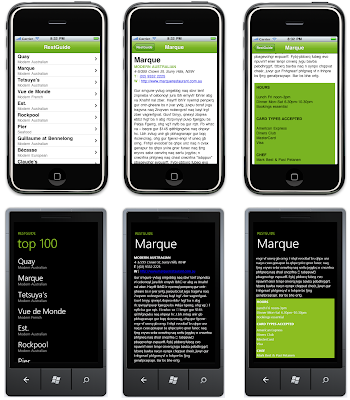 iPhone and Windows Phone 7 screenshots : click to enlarge
