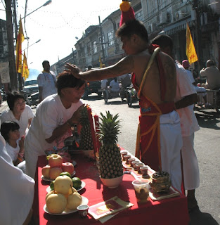 Ma Song bestowing blessings at the Phuket Vegetarian festival