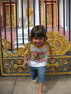 My son at Wat Mongkhon Nimit in Phuket Town