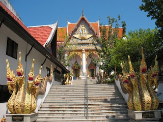 Steps up to the main temple at Wat Vichit Sangkaram