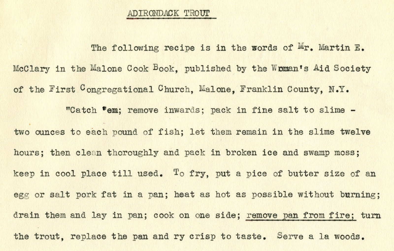 The Franklin County (NY) Historian: Trout