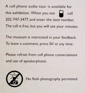 cell phone tour sign at the Smithsonian museum