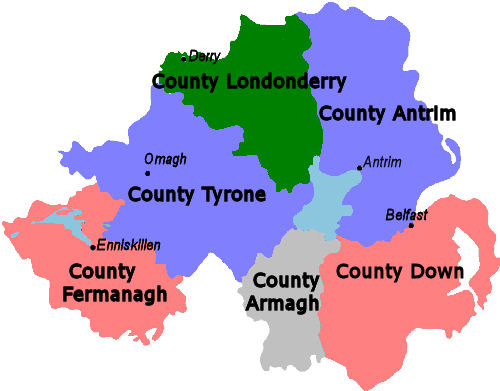 Map Of Counties Of Northern Ireland.Obryadii00 Map Of Ireland With Counties In Irish