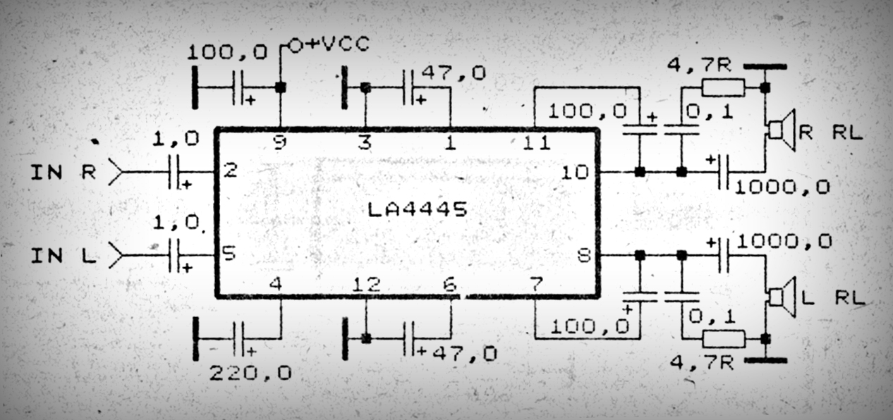 Car Amplifier with IC LA4445 Electronic Circuit