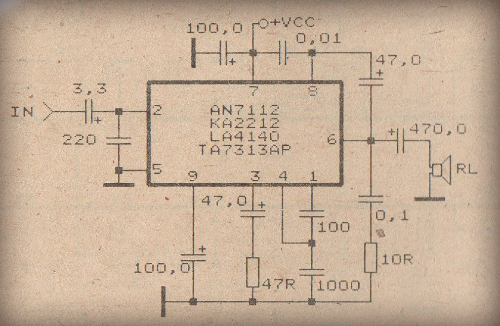 Schematic Power Amplifier With Ic An7112
