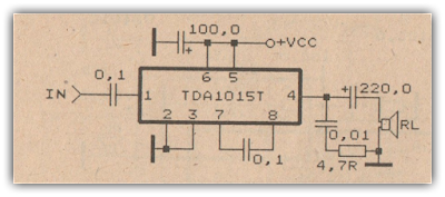 0,5 Watt power amplifier circuit with TDA1015T