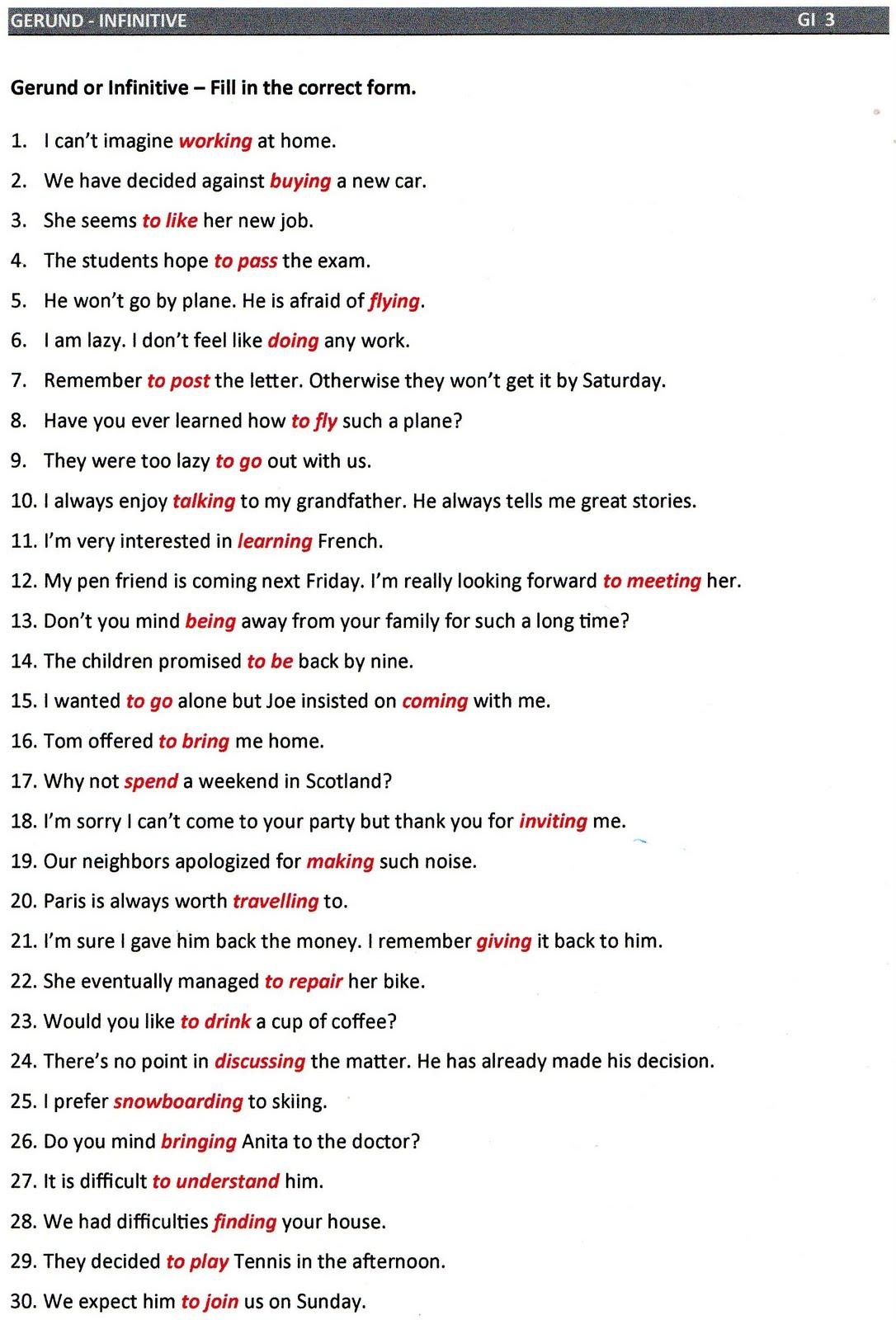 Gerund Worksheet With Answers