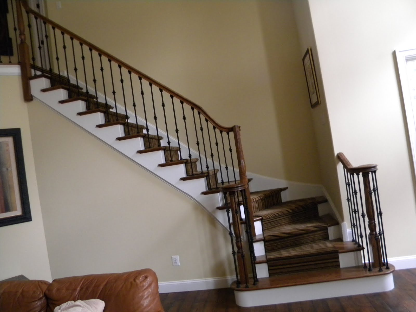 Wood Stairs And Rails And Iron Balusters: Iron Balusters