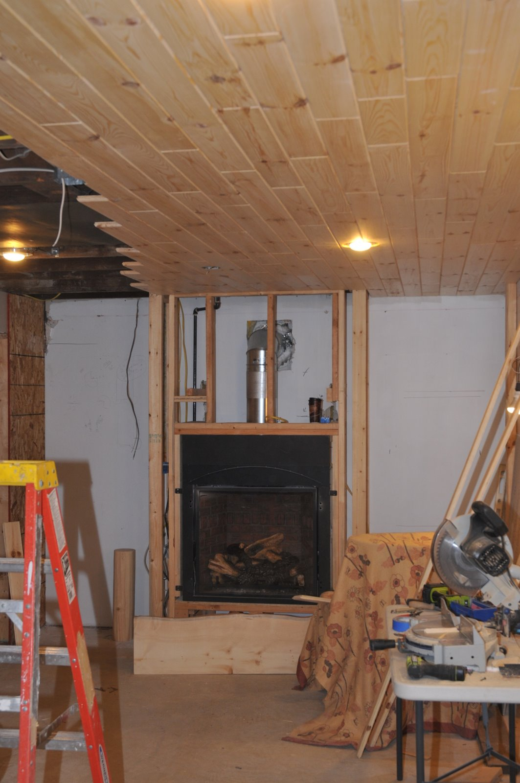 A Couple More Hours Work Will Complete The Ceiling Immediate Objective Was To Get Wood Up Near Fireplace So Mason Can Install