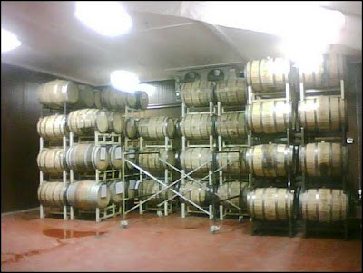 casks, keg barrels at the Samuel Adams Brewery