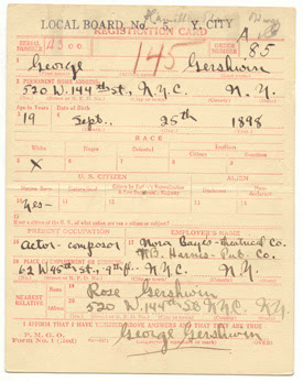 World War I Draft Registration Card of George Gerswhin