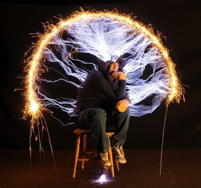 The Thinker Recreated With Electricity