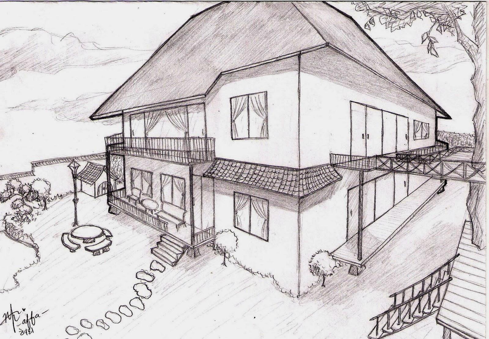 Gambar Perspektif 2 Titik Hilang Rumah Sekitar Rumah