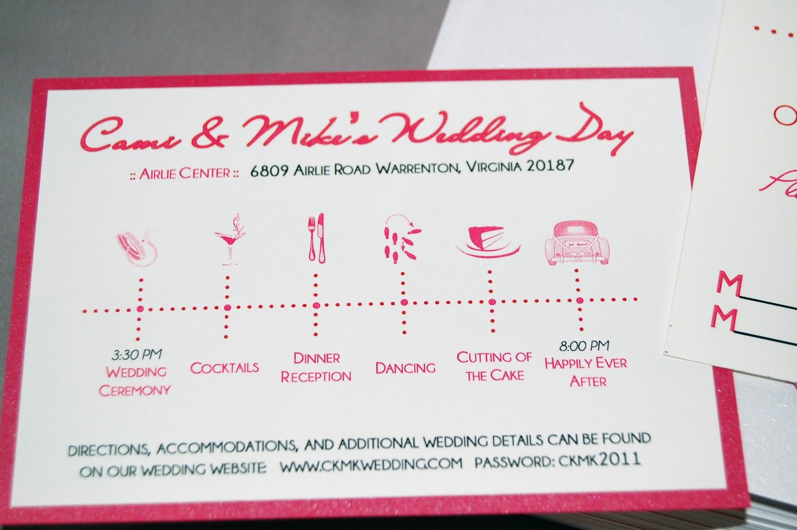 Wedding Timeline Invitations: Fine Prints: Cami's Dark Pink And Red Wedding Invitations