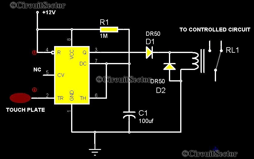 Touch Control Switch Using 555 Top Circuits