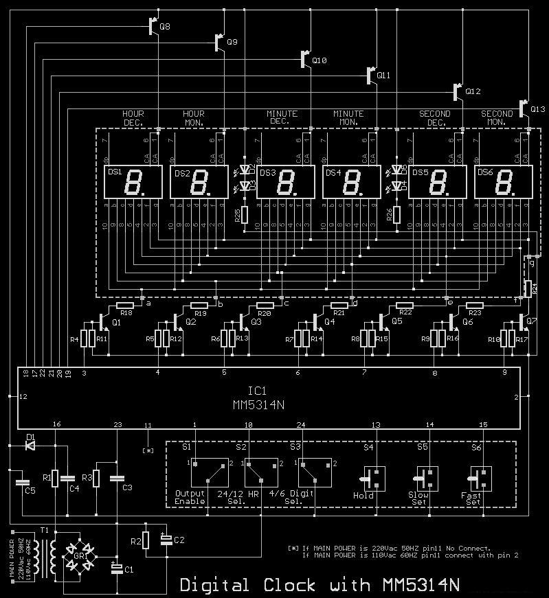 circuit diagram of 89c51 7 segment digital clock circuit using ic 5314 | top circuits circuit diagram of 7 segment digital clock