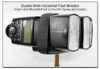 PJ1101: Double Wide Horizontal Flash Bracket - Front/Side View