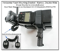PJ1087: Horizontal Flash Mounting Bracket - Narrow, Double Wide Mounted to Umbrella Adapter, FlexTT5 & Shortened OC-E3 with Dedicated hot Shoe