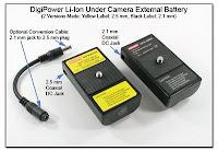 SC1060A: DigiPower Li-Ion Under Camera External Batter (2.5 mm. 2.1 mm DC Jack)