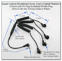 Quad Linked Shortened Sync Cord (Coiled Rubber) - 4 ScrewLock PC Plugs to Molded RA Mini Plug with Aux Turning Collars and Heavy Duty Inline Splice