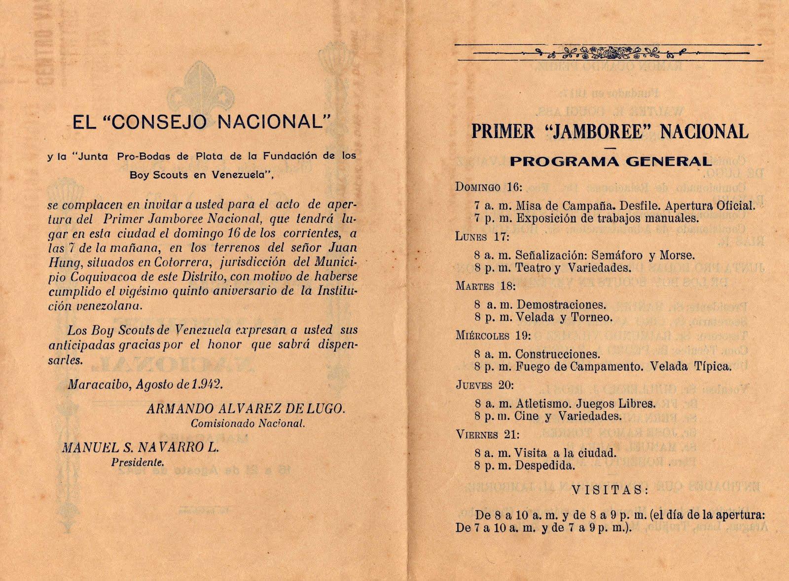 Museo Virtual Scouts Venezuela 1er Jamboree Nacional 1942