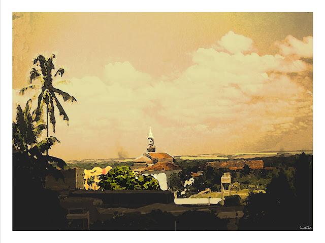 """Vista da Igreja de São Frei Pedro Bento Gonçalves (Crepúsculo)"""".Infogravura/papel couchê, 29,7 x 42 cm, 2007. Paraíba, Brasil."""