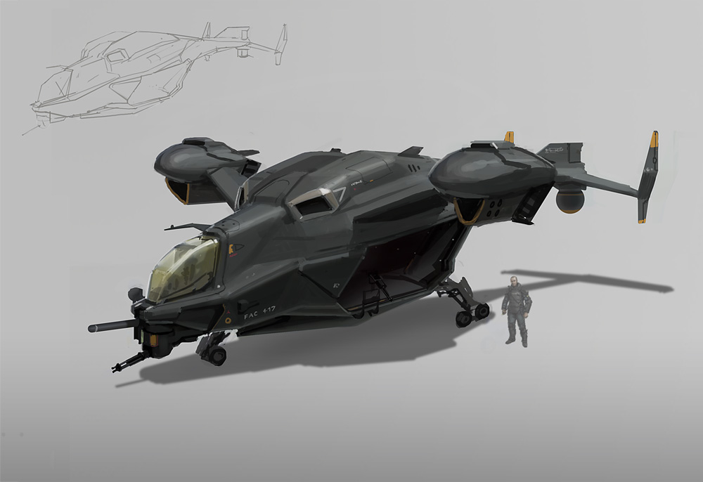Sci Fi Troop Transport Helicopter