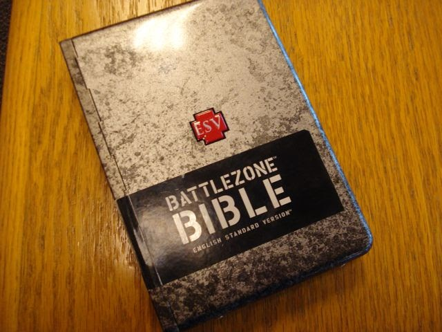 Material Scripture: ESV BattleZone (weathered metal cover)