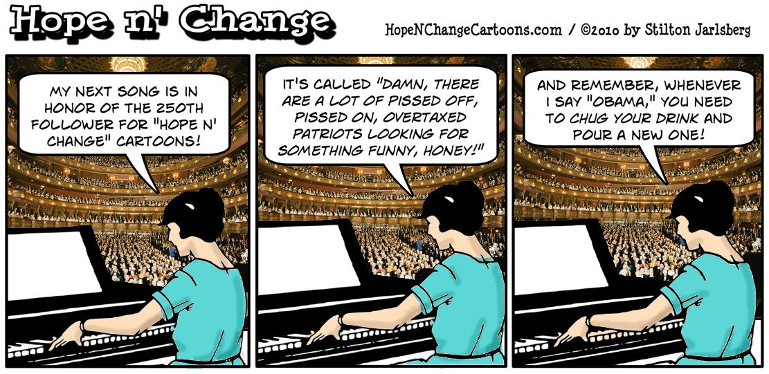 Hope n' Change Cartoons reaches 250 followers and celebrates with a huge concert and a new drinking game; hope and change, hopenchange