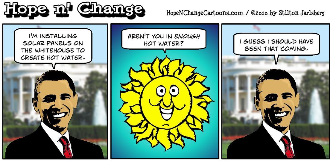 Barack Obama continues trying to fill the big shoes of Jimmy Carter by installing solar panels on the Whitehouse; hope and change, hopenchange, hope n' change, stilton jarlsberg