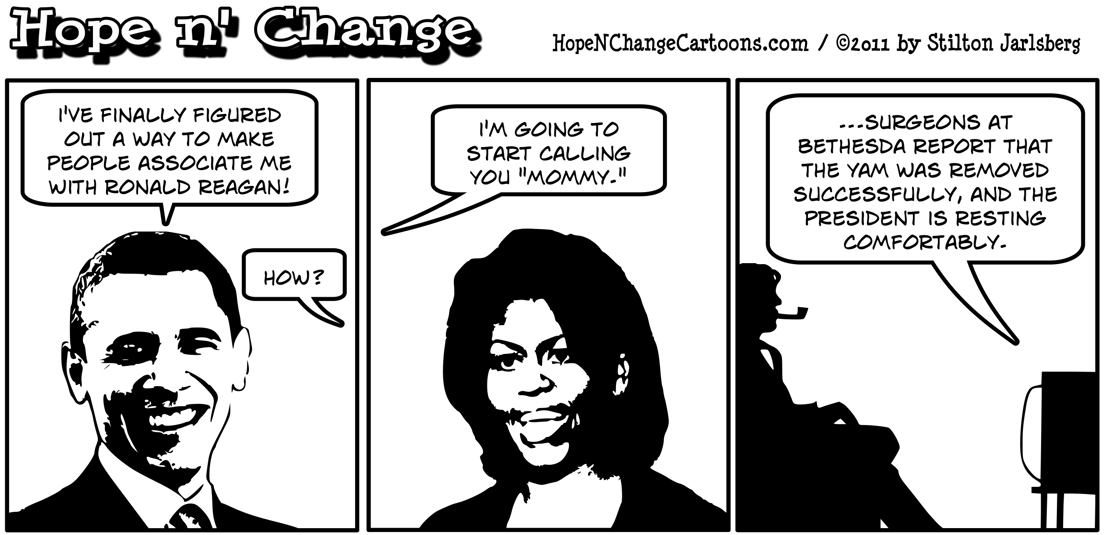 Obama decides to emulate Ronald Reagan by calling the first lady Mommy, hope n' change, hopenchange, hope and change, stilton jarlsberg