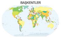 Dünya haritası üzerinde başkentlerin siyah noktalarla gösterimi