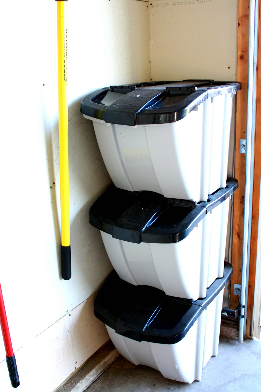 recycle bin ideas garage - IHeart Organizing May Featured Space Outdoors Garage