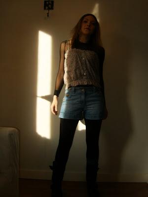 mesh-paita   lindex kukkatoppi   New Look farkkushortsit   H M sukat   New  Look 3633d83387