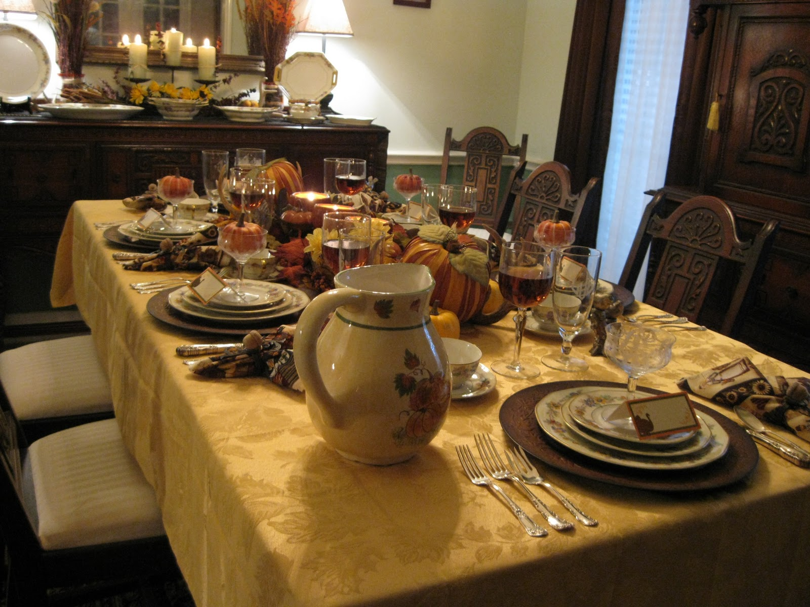 Rustic Buffet Table Setting Tablescapes By Diane My Thanksgiving Tablescapes