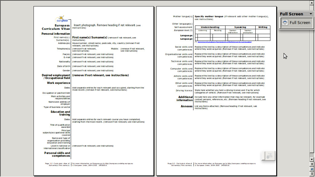 template for english cv openoffice