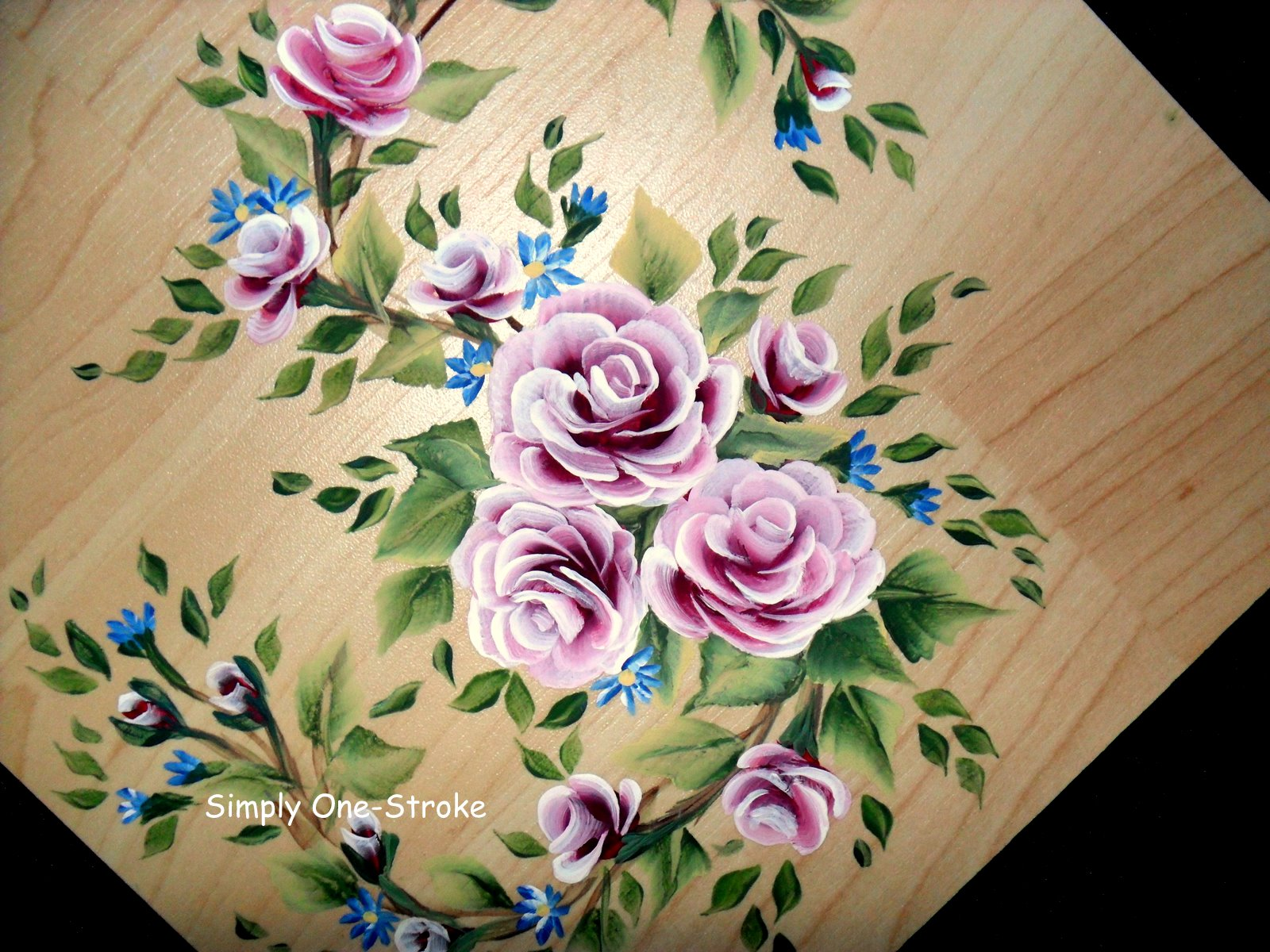 Simply One Stroke Roses On A Wood Tile