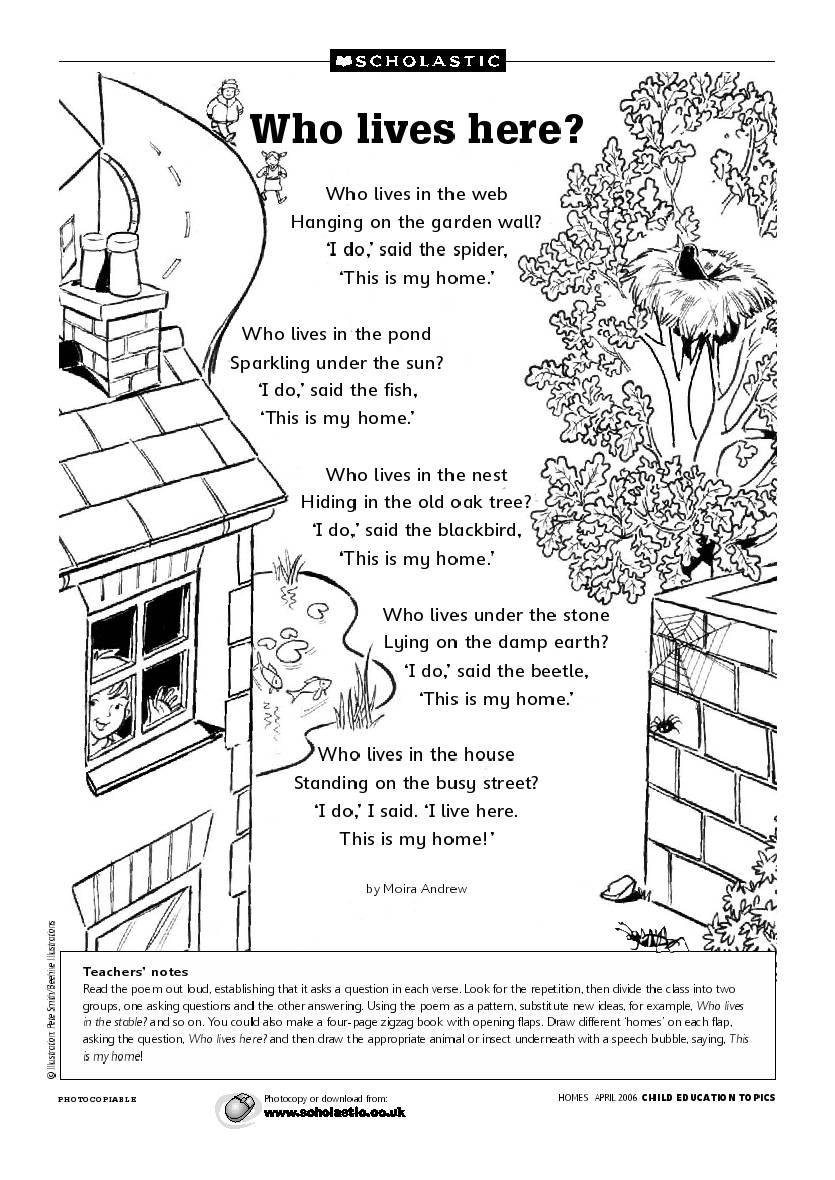 Angol feladatok, mondókák, színezők: Animals Home / Hol