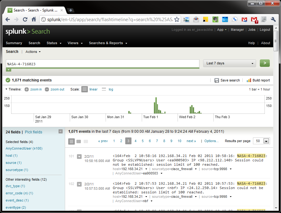 SwackNet: Splunk Field Extraction and Report for Cisco