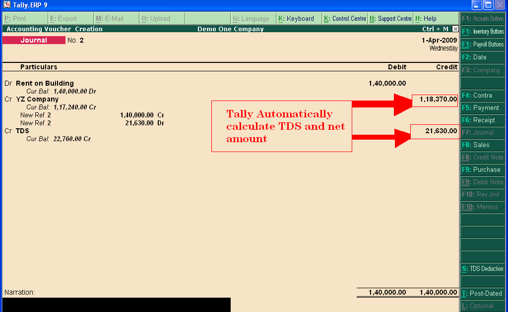 accounting treatment of tds in tally erp 9