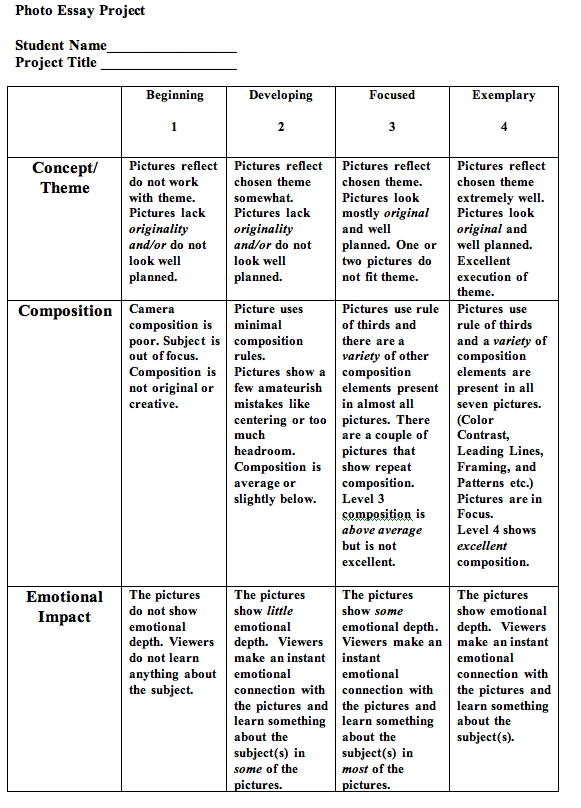Photographic essay rubric
