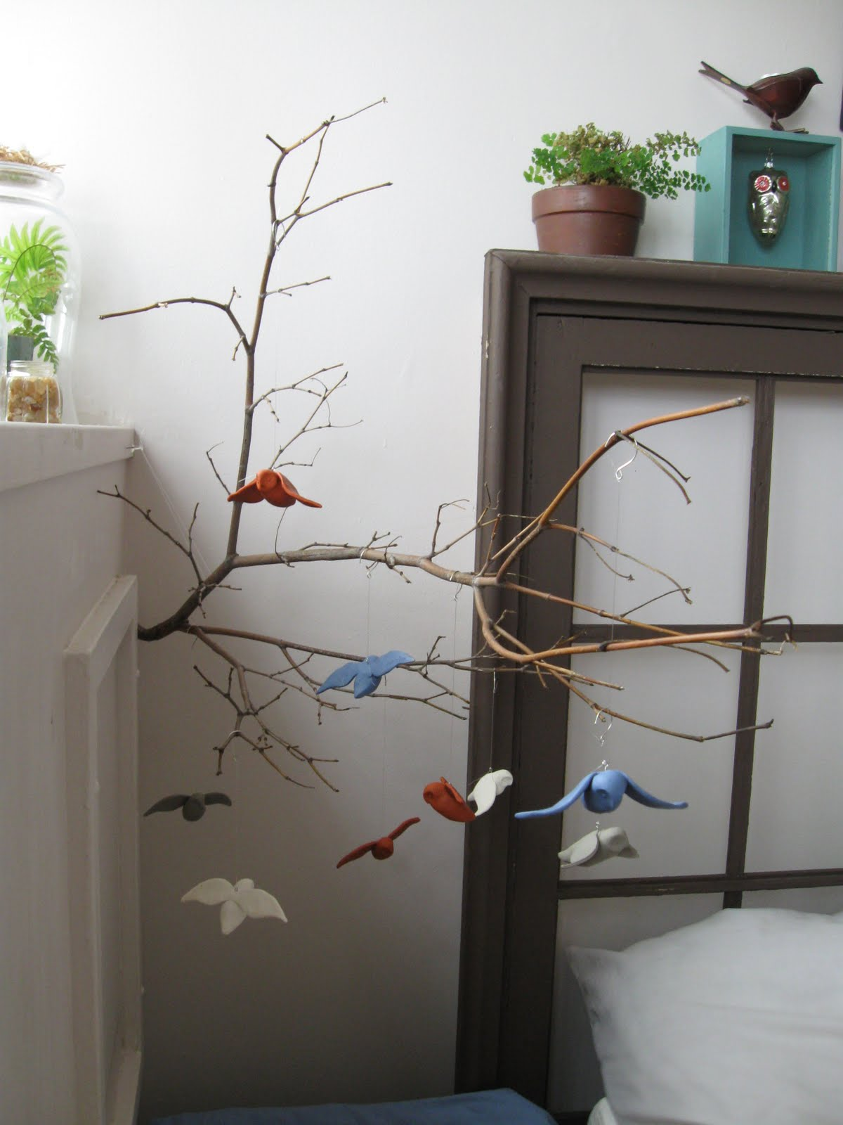 moth and sparrow woodland mobile with tutorial. Black Bedroom Furniture Sets. Home Design Ideas