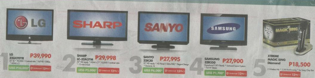 Lcd Led Tvs Philippines With Price Comparisons November 2009