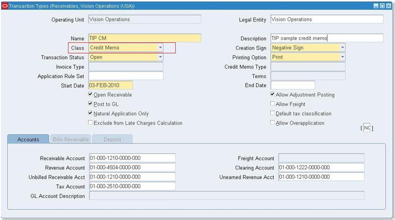 Oracle Receivables Transaction Types R12 ~ Oracle Apps