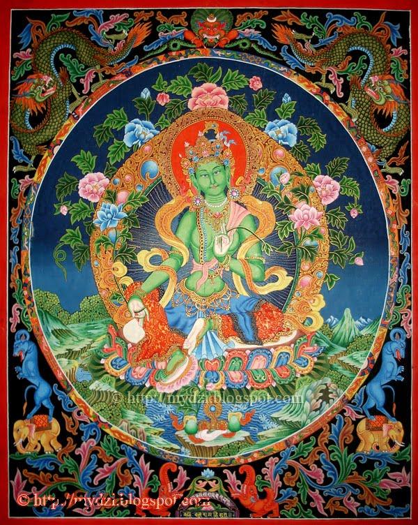 Green Tara 3: Dharma Gallery: Newari Green Tara Thanka