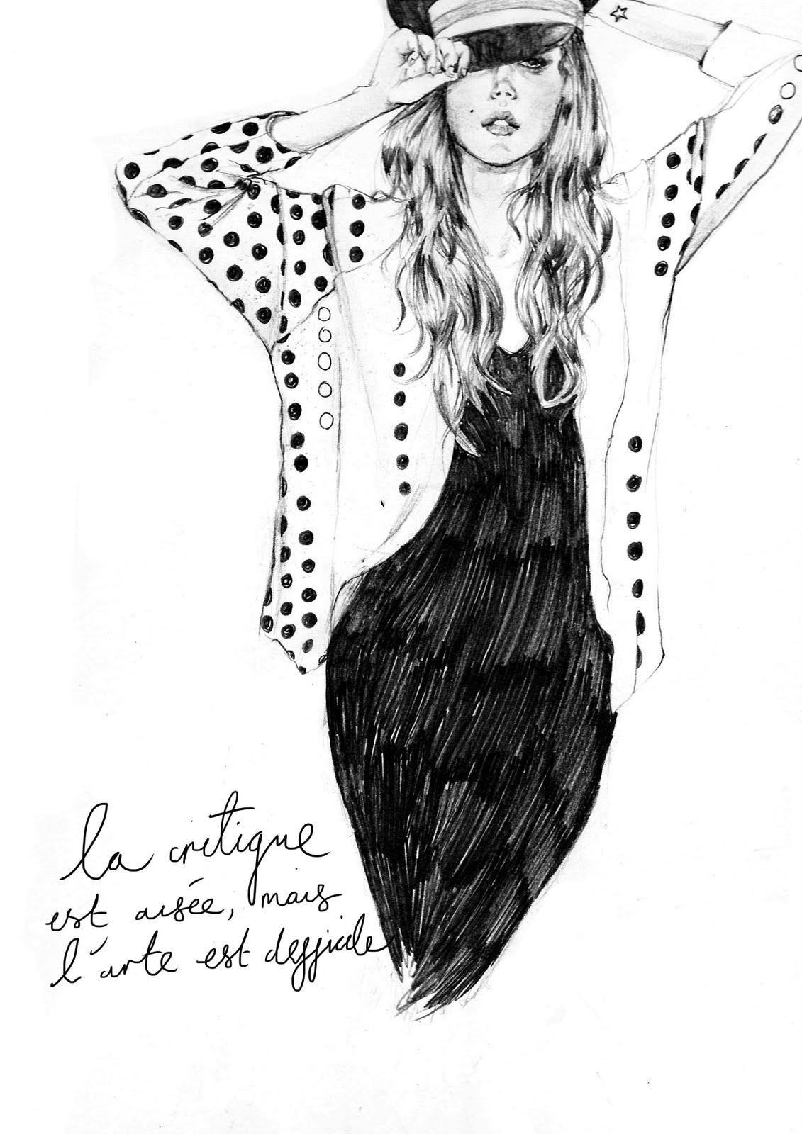 Fashion illustration colour pencil sketches